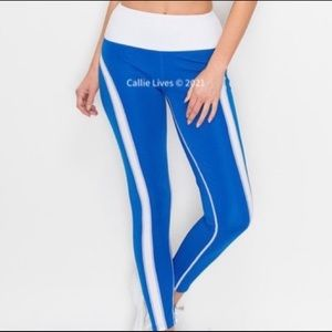 New! Contrast Wide Band Activewear Blue Leggings